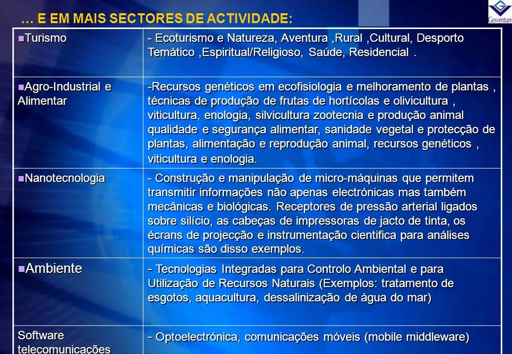 … E EM MAIS SECTORES DE ACTIVIDADE: