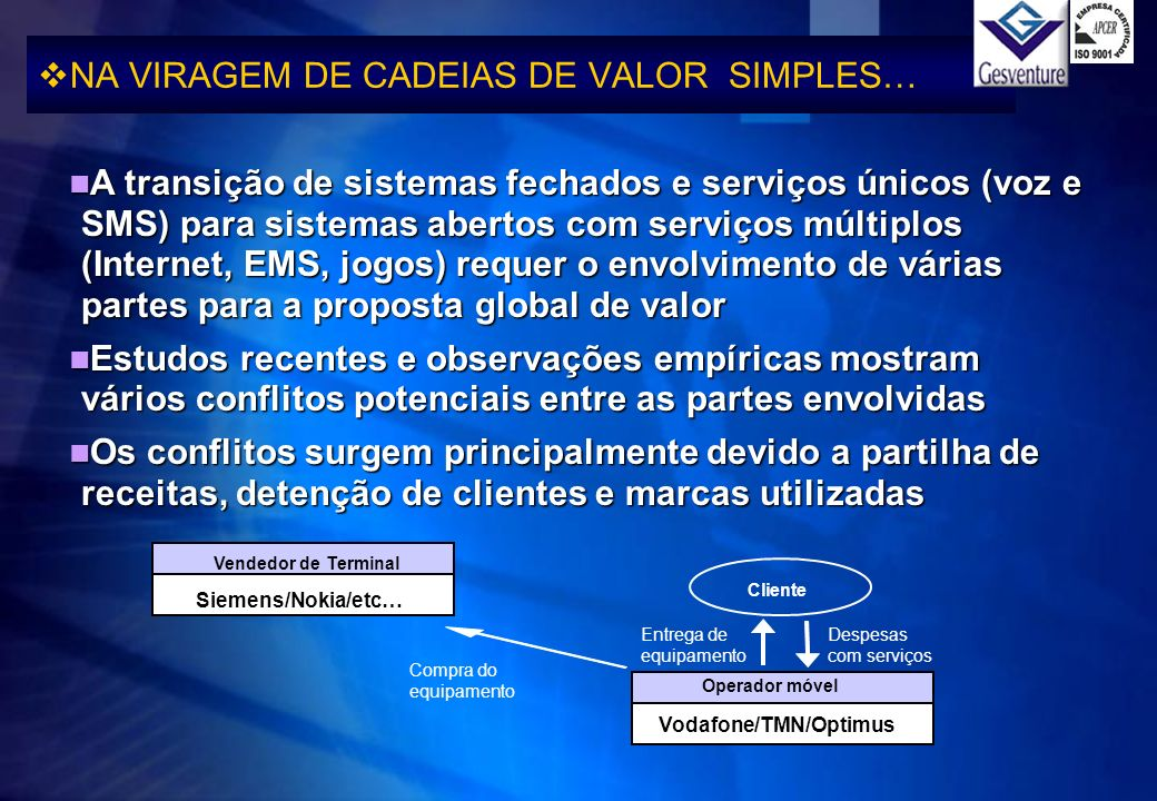 NA VIRAGEM DE CADEIAS DE VALOR SIMPLES…
