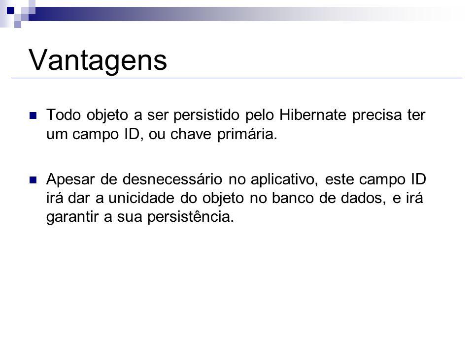 Vantagens Todo objeto a ser persistido pelo Hibernate precisa ter um campo ID, ou chave primária.