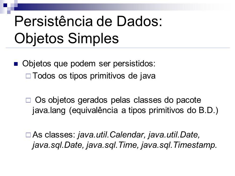 Persistência de Dados: Objetos Simples
