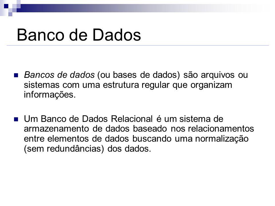Banco de DadosBancos de dados (ou bases de dados) são arquivos ou sistemas com uma estrutura regular que organizam informações.