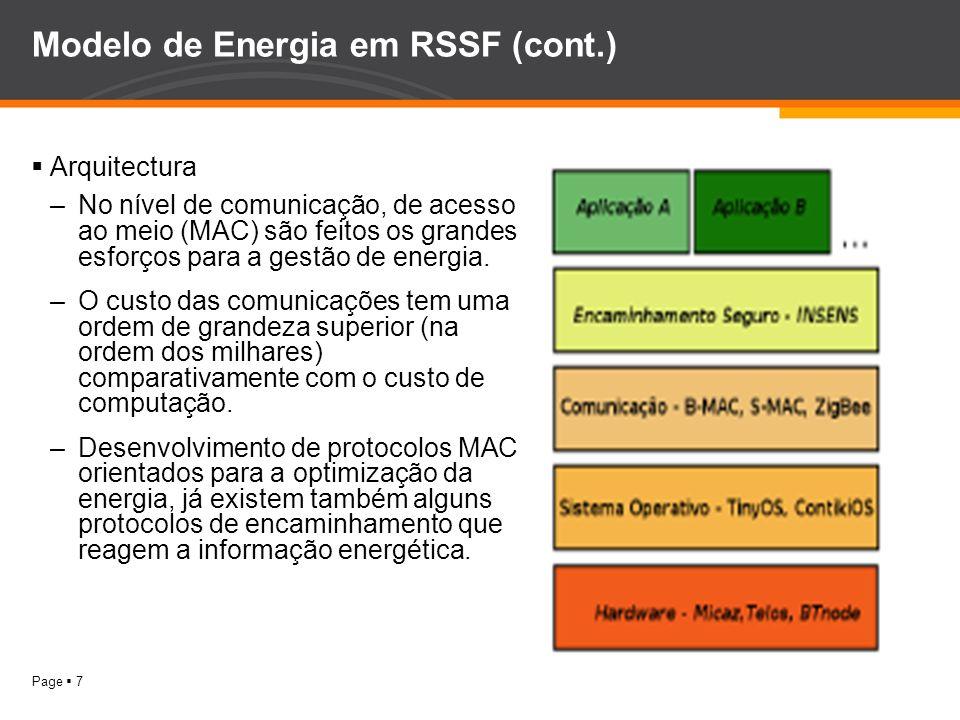 Modelo de Energia em RSSF (cont.)