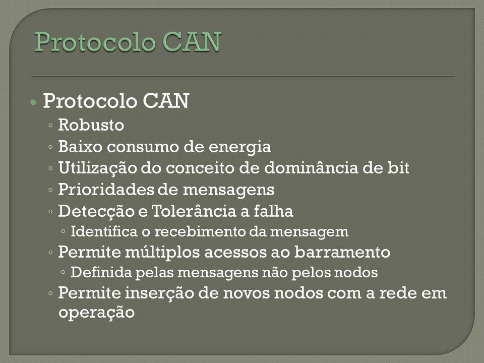 Protocolo CAN Protocolo CAN Robusto Baixo consumo de energia