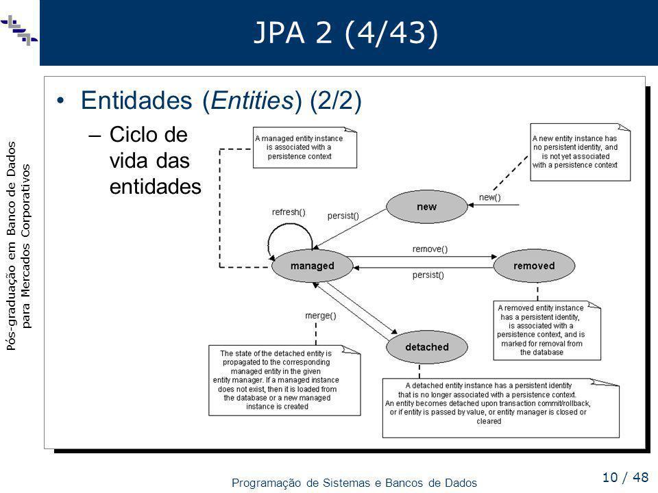 JPA 2 (4/43) Entidades (Entities) (2/2) Ciclo de vida das entidades