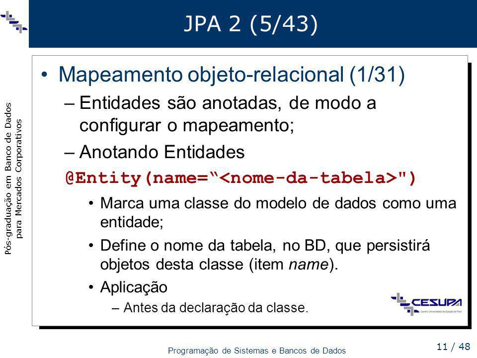 Mapeamento objeto-relacional (1/31)