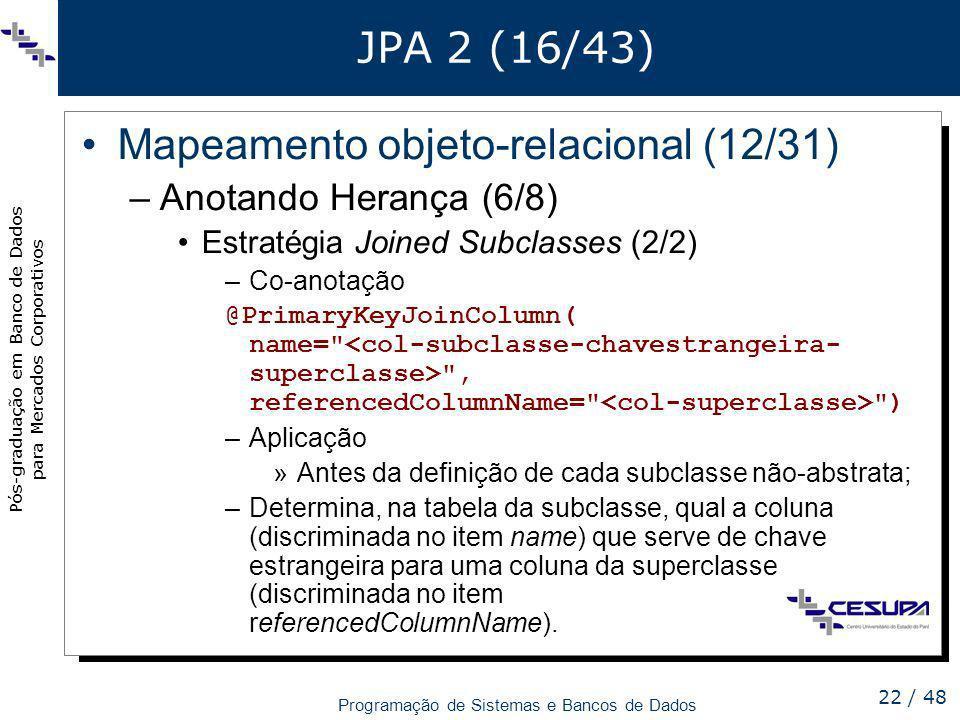 Mapeamento objeto-relacional (12/31)