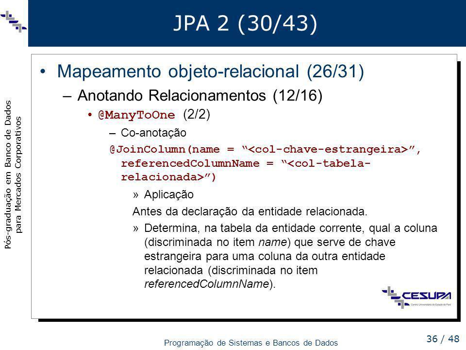 JPA 2 (30/43) Mapeamento objeto-relacional (26/31)
