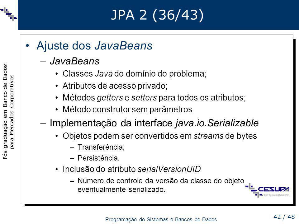 JPA 2 (36/43) Ajuste dos JavaBeans JavaBeans