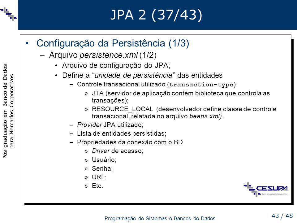 JPA 2 (37/43) Configuração da Persistência (1/3)