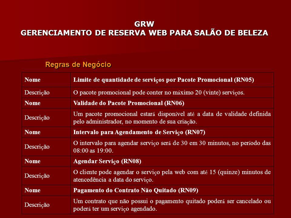 Regras de Negócio Nome. Limite de quantidade de serviços por Pacote Promocional (RN05) Descrição.