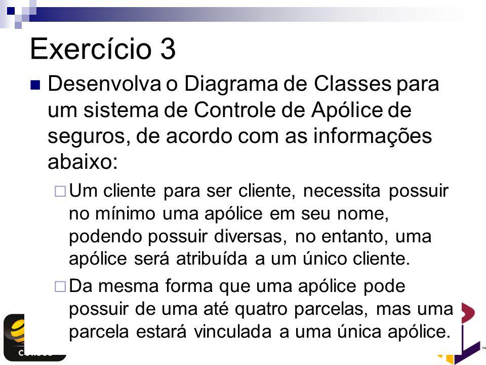Exercício 3 Desenvolva o Diagrama de Classes para um sistema de Controle de Apólice de seguros, de acordo com as informações abaixo: