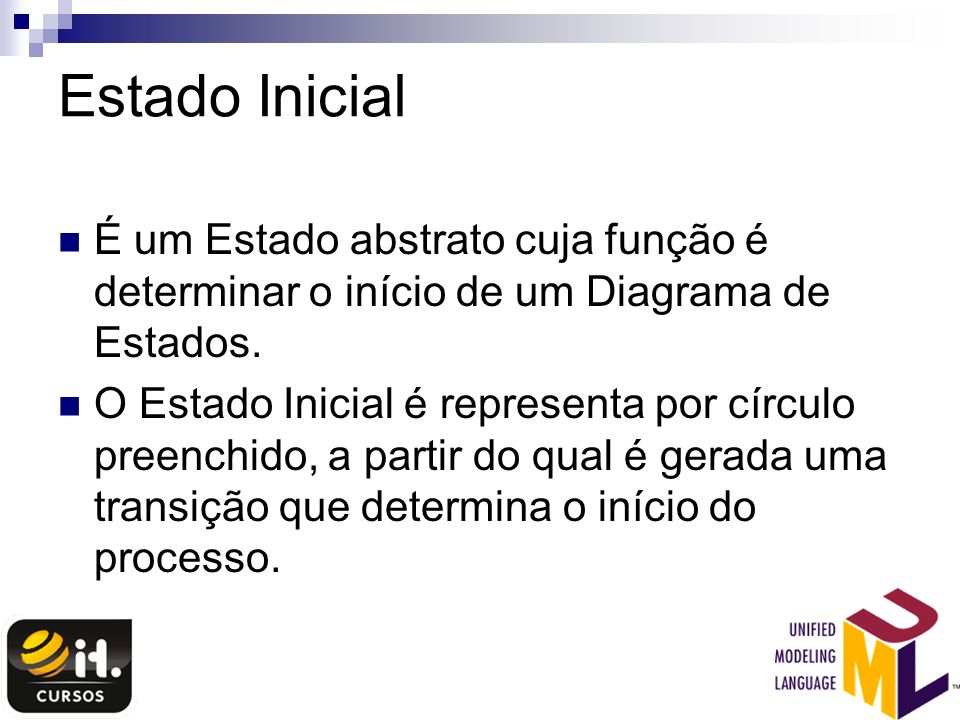Estado Inicial É um Estado abstrato cuja função é determinar o início de um Diagrama de Estados.