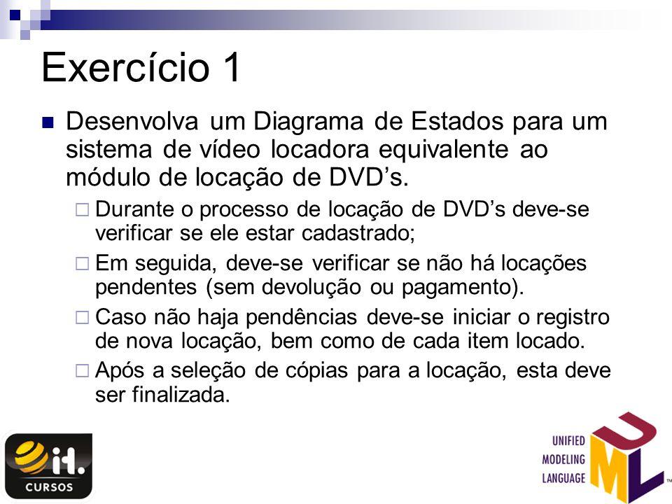 Exercício 1 Desenvolva um Diagrama de Estados para um sistema de vídeo locadora equivalente ao módulo de locação de DVD's.