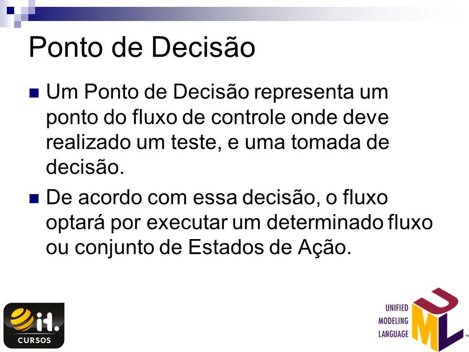 Ponto de Decisão Um Ponto de Decisão representa um ponto do fluxo de controle onde deve realizado um teste, e uma tomada de decisão.