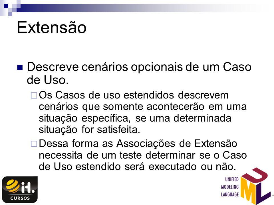 Extensão Descreve cenários opcionais de um Caso de Uso.