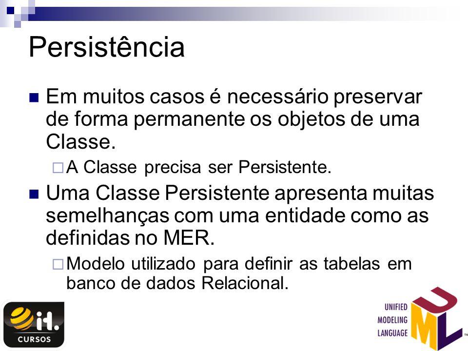 Persistência Em muitos casos é necessário preservar de forma permanente os objetos de uma Classe. A Classe precisa ser Persistente.