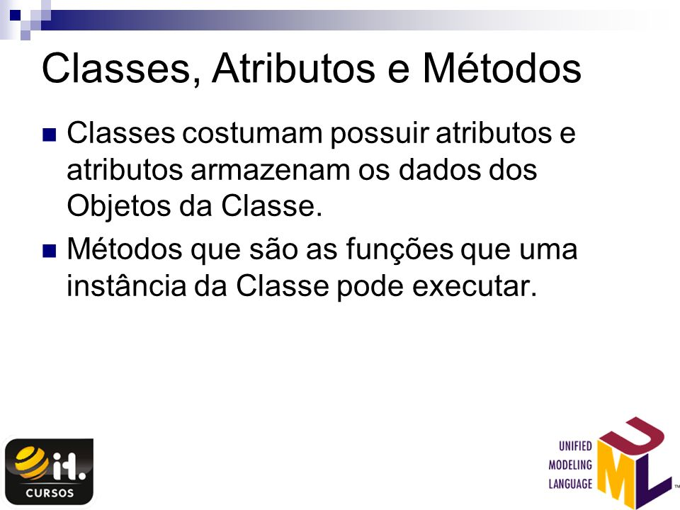 Classes, Atributos e Métodos