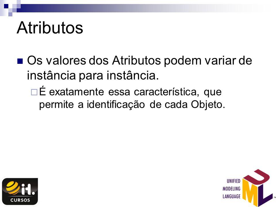 Atributos Os valores dos Atributos podem variar de instância para instância.