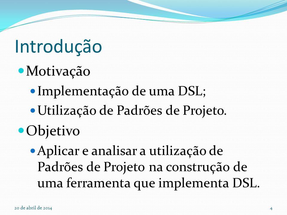 Introdução Motivação Objetivo Implementação de uma DSL;