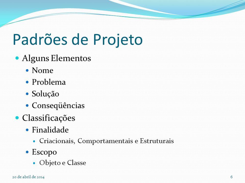 Padrões de Projeto Alguns Elementos Classificações Nome Problema