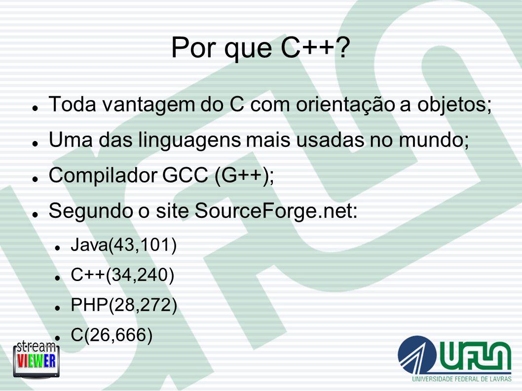 Por que C++ Toda vantagem do C com orientação a objetos;