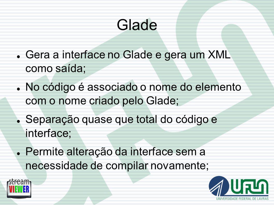 Glade Gera a interface no Glade e gera um XML como saída;