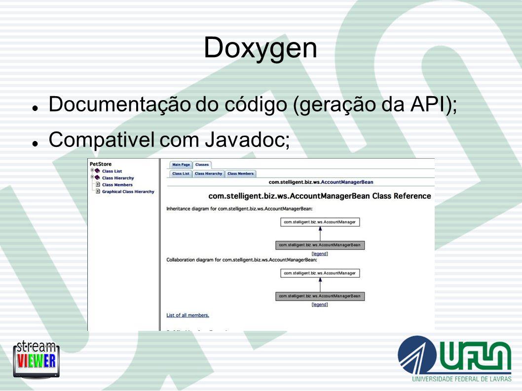 Doxygen Documentação do código (geração da API);
