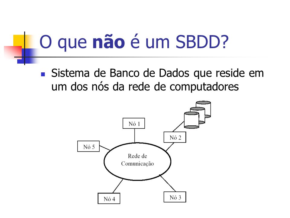 O que não é um SBDD Sistema de Banco de Dados que reside em um dos nós da rede de computadores.