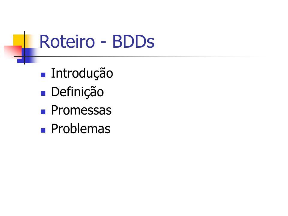 Roteiro - BDDs Introdução Definição Promessas Problemas