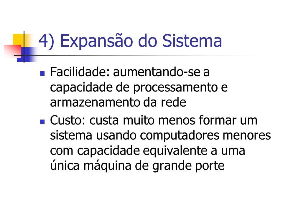 4) Expansão do Sistema Facilidade: aumentando-se a capacidade de processamento e armazenamento da rede.