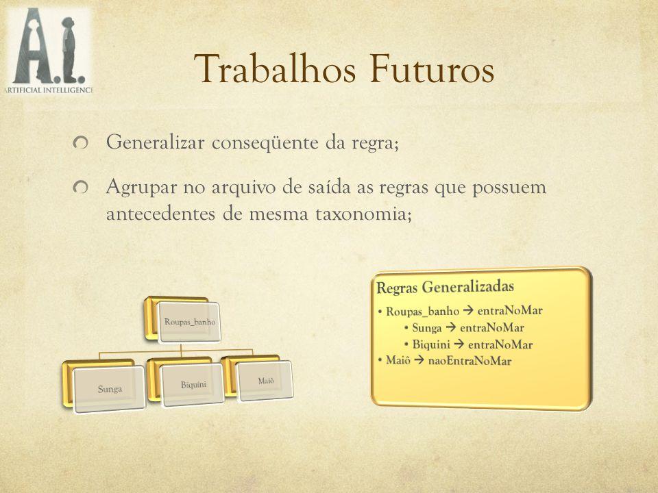 Trabalhos Futuros Generalizar conseqüente da regra;