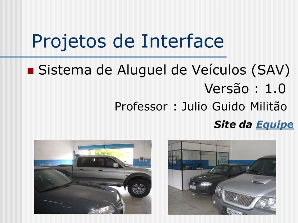 Projetos de Interface Sistema de Aluguel de Veículos (SAV)
