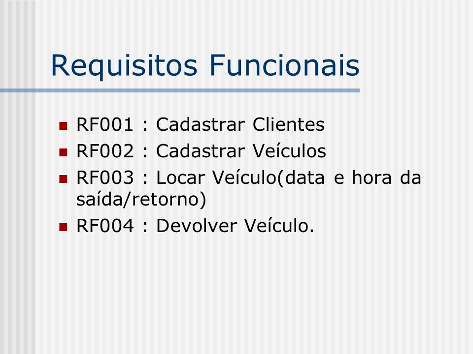 Requisitos Funcionais