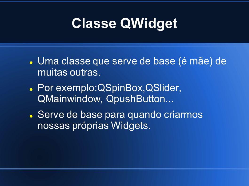 Classe QWidget Uma classe que serve de base (é mãe) de muitas outras.