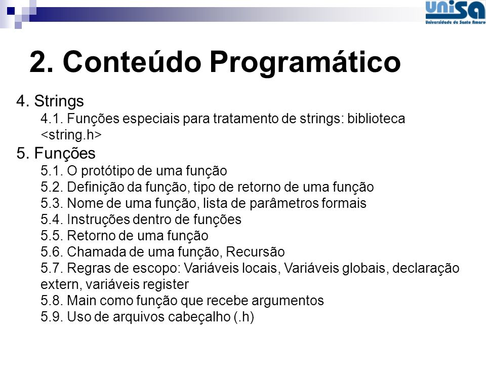2. Conteúdo Programático