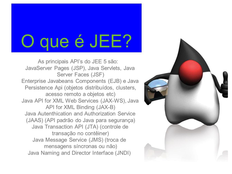 O que é JEE As principais API's do JEE 5 são: