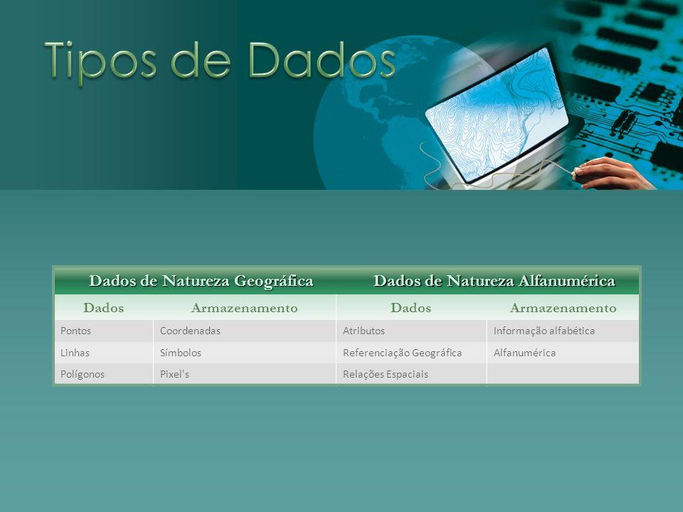 Dados de Natureza Geográfica Dados de Natureza Alfanumérica