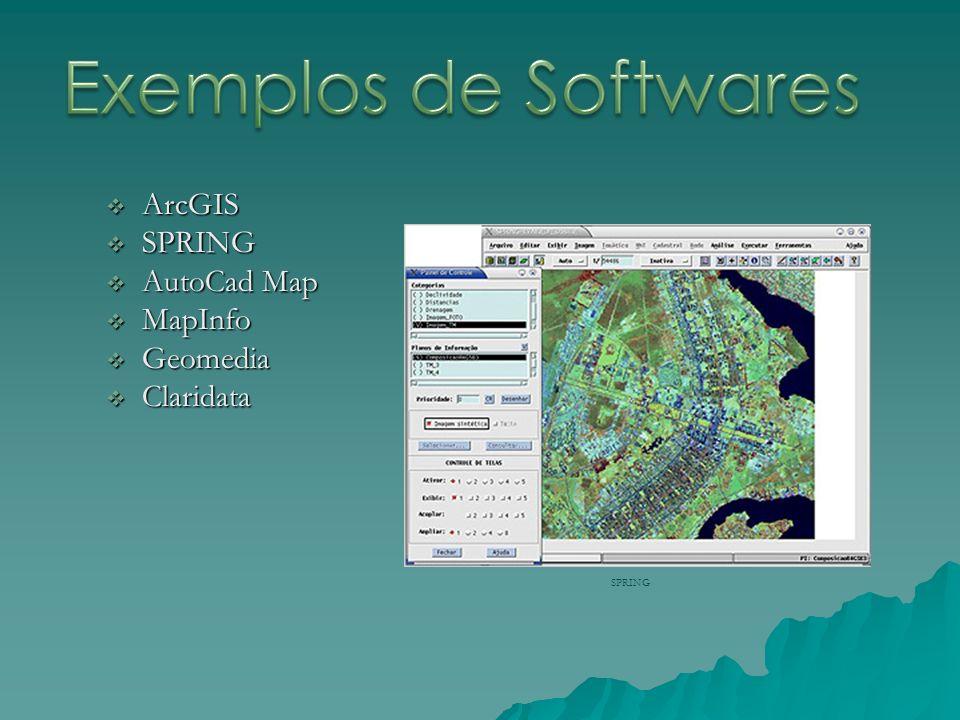 Exemplos de Softwares ArcGIS SPRING AutoCad Map MapInfo Geomedia