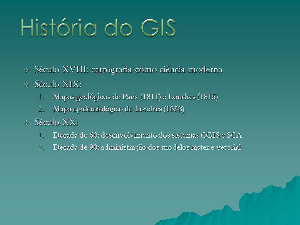 História do GIS Século XVIII: cartografia como ciência moderna