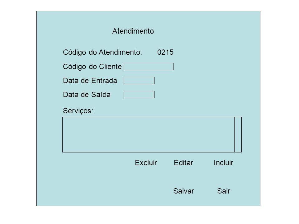 Atendimento Código do Cliente. Salvar. Sair. Data de Entrada. Código do Atendimento: 0215.