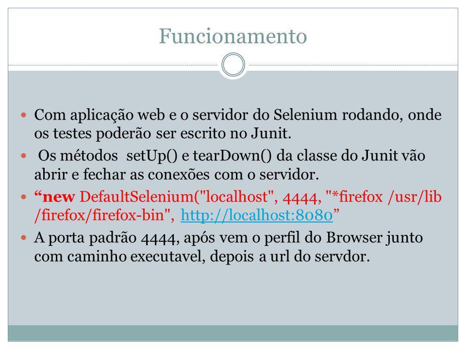 Funcionamento Com aplicação web e o servidor do Selenium rodando, onde os testes poderão ser escrito no Junit.