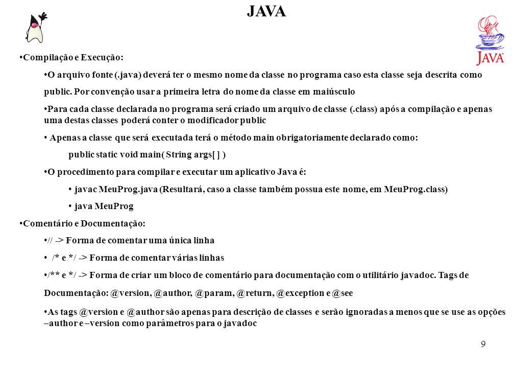 JAVA /** Esta classe exibe uma string como exemplo @version 1.0