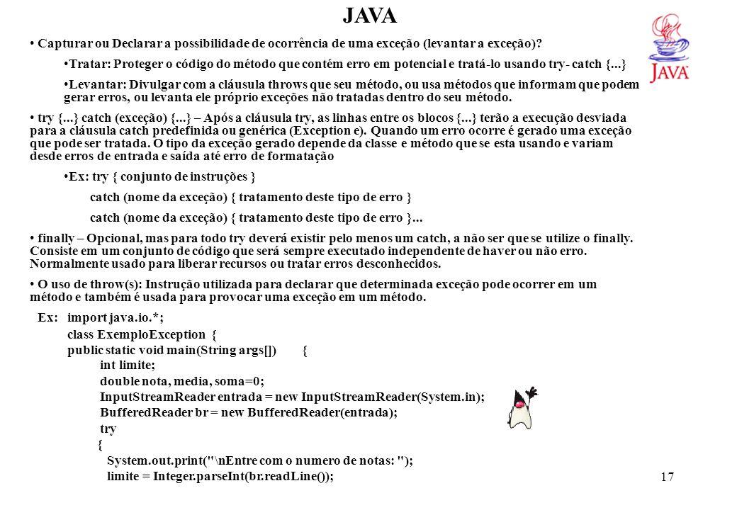 JAVA for ( int i=1; i<=limite; i++) {