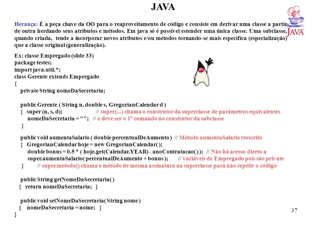 JAVA package testes; import java.util.*;