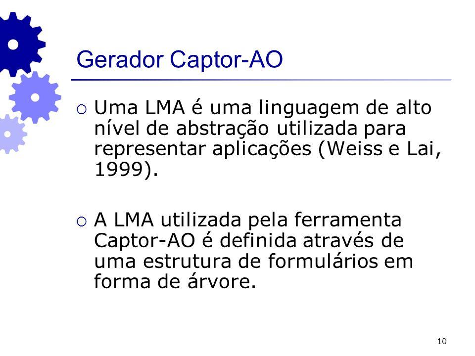 Gerador Captor-AO Uma LMA é uma linguagem de alto nível de abstração utilizada para representar aplicações (Weiss e Lai, 1999).