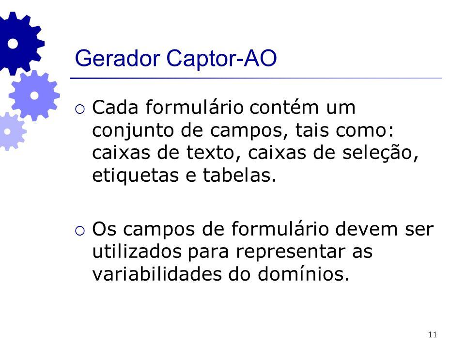 Gerador Captor-AOCada formulário contém um conjunto de campos, tais como: caixas de texto, caixas de seleção, etiquetas e tabelas.