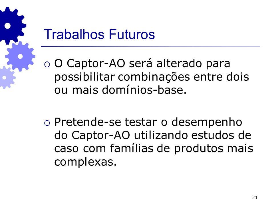Trabalhos Futuros O Captor-AO será alterado para possibilitar combinações entre dois ou mais domínios-base.