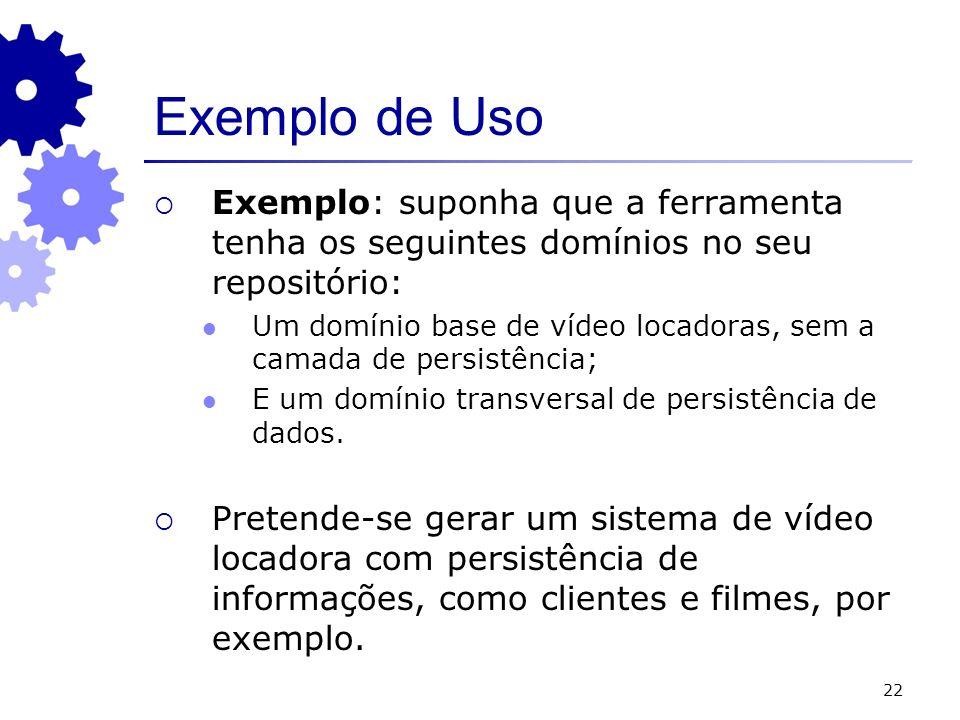 Exemplo de Uso Exemplo: suponha que a ferramenta tenha os seguintes domínios no seu repositório:
