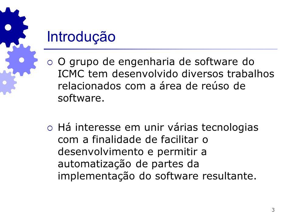 Introdução O grupo de engenharia de software do ICMC tem desenvolvido diversos trabalhos relacionados com a área de reúso de software.