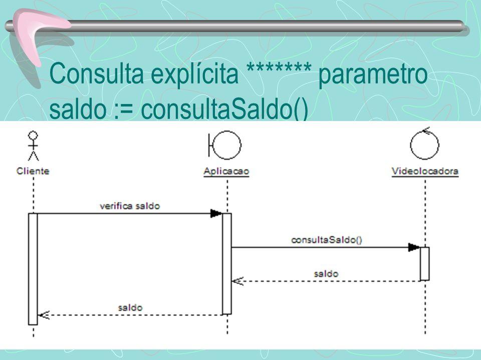 Consulta explícita ******* parametro saldo := consultaSaldo()